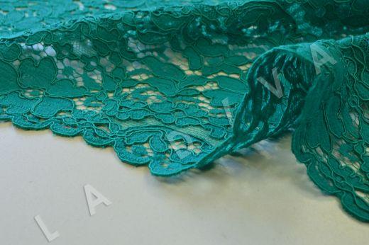 Хлопковое кружевос кордовой нитью бирюзового цвета рис-3