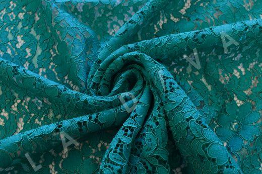 Хлопковое кружевос кордовой нитью бирюзового цвета