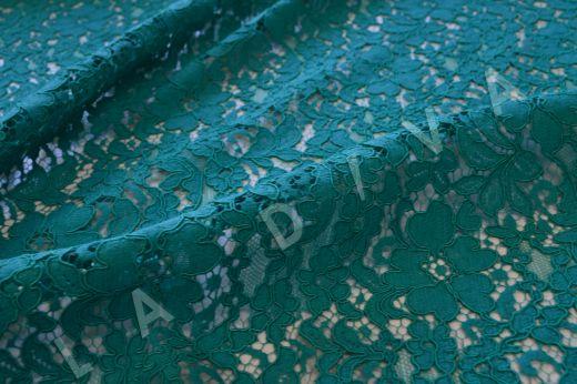 Хлопковое кружевос кордовой нитью бирюзового цвета рис-2