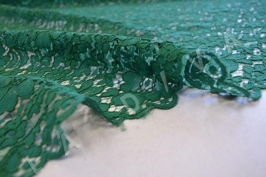 Хлопковое кружево с кордовой нитью зеленого цвета рис-3