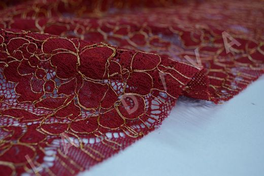 Французское кружево Solstiss бордового цвета рис-3