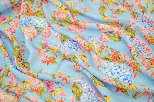 штапель вискоза с цветочным принтом на голубом фоне рис-2