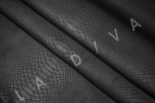 Экокожа под рептилию чёрного цвета рис-2