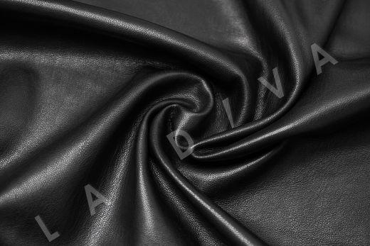 Экокожа на замшевой основе черного цвета