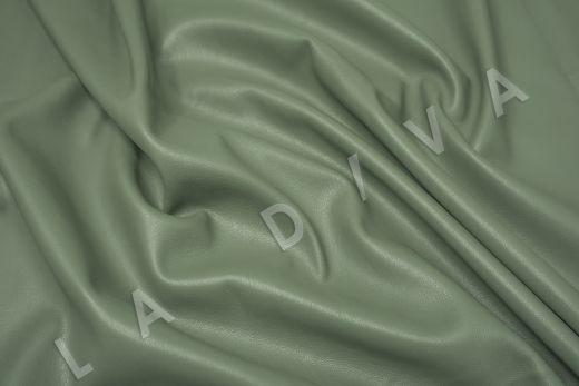Экокожа на замшевой основе фисташкового цвета  рис-3
