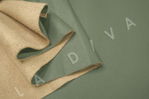 Экокожа на замшевой основе фисташкового цвета  рис-4
