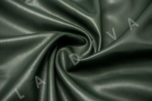 Экокожа на замшевой основе темно-зеленого цвета