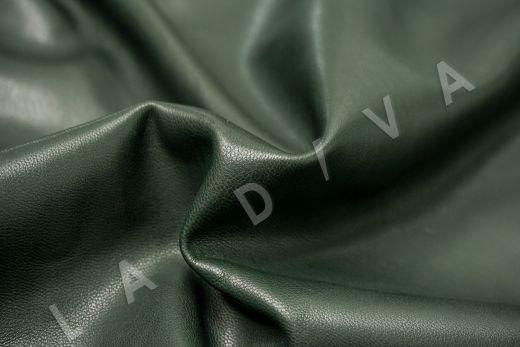 Экокожа на замшевой основе темно-зеленого цвета  рис-2