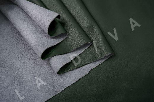 Экокожа на замшевой основе темно-зеленого цвета  рис-4