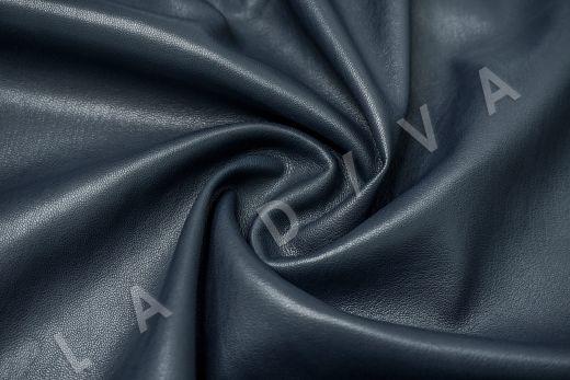 Экокожа на замшевой основе темно-синего цвета