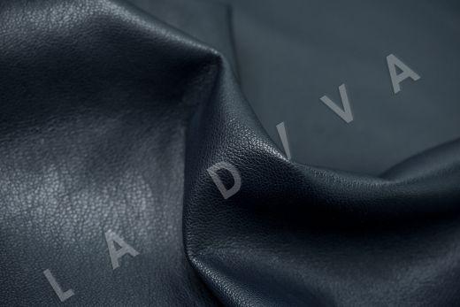 Экокожа на замшевой основе темно-синего цвета  рис-3