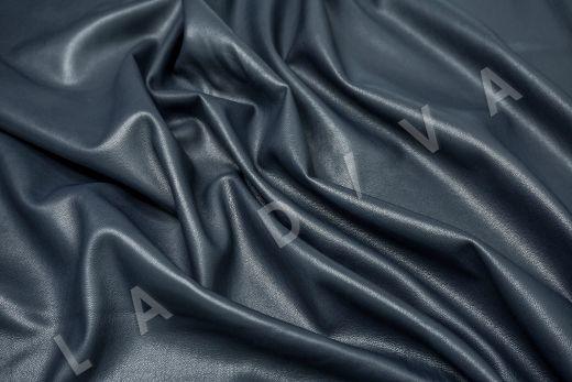 Экокожа на замшевой основе темно-синего цвета  рис-4