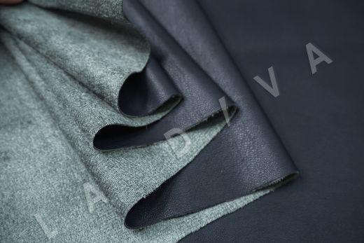 Экокожа на замшевой основе темно-синего цвета  рис-2