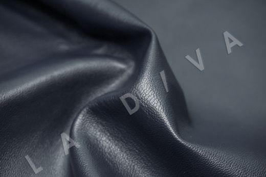 экокожа на костюмной основе темно-синего цвета  рис-2