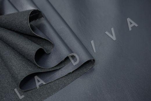 экокожа на костюмной основе темно-синего цвета  рис-4