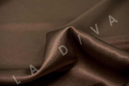 Шелк атласный однотонный коричневого цвета рис-2