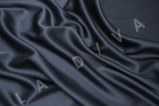 Шелк атласный однотонный серо-синего цвета