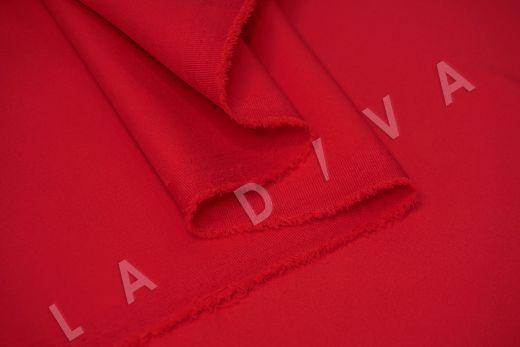 Костюмный стрейч хлопок ярко-красного цвета рис-3