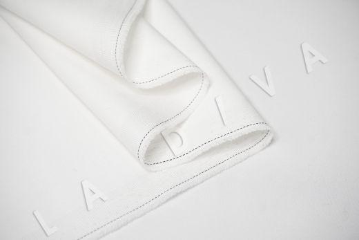 Костюмный стрейч хлопок белого цвета рис-3