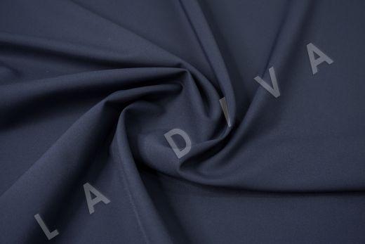 Костюмный стрейч хлопок темно-синего цвета рис-2