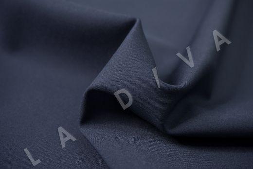 Костюмный стрейч хлопок темно-синего цвета рис-4