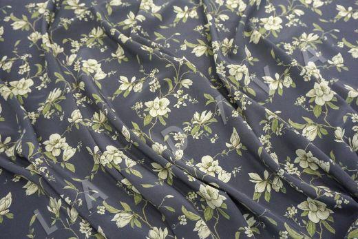 шелковый крепдешин с цветочным принтом рис-4