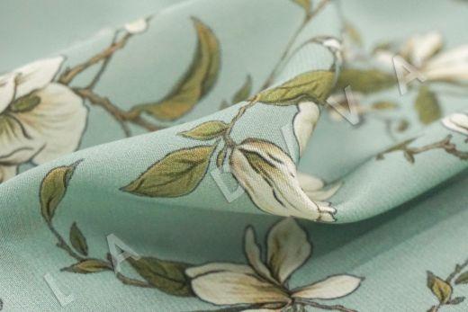 шелковый крепдешин с цветочным принтом рис-3