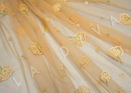 Вышивка на сетке «Одуванчики» желтого цвета