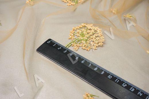 вышивка на сетке «Одуванчики» желтого цвета рис-2