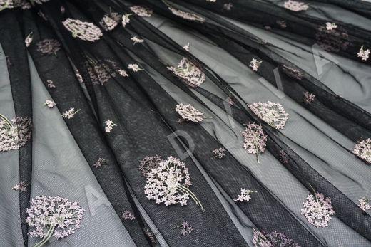 вышивка на сетке «Одуванчики» черного цвета