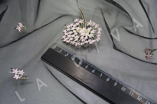 вышивка на сетке «Одуванчики» черного цвета рис-3