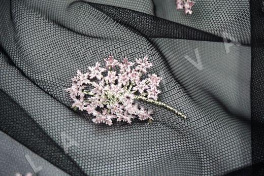 вышивка на сетке «Одуванчики» черного цвета рис-4