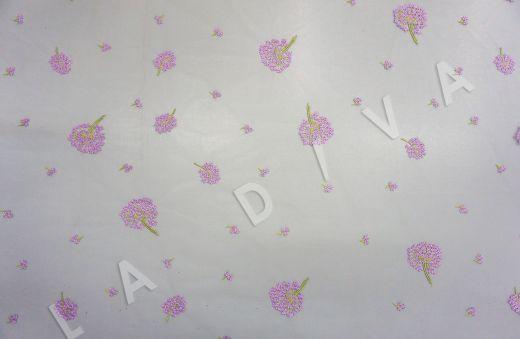 вышивка на сетке «Одуванчики» белого цвета рис-2