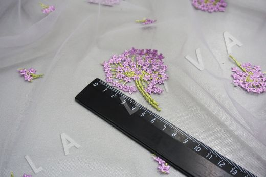 вышивка на сетке «Одуванчики» белого цвета рис-3