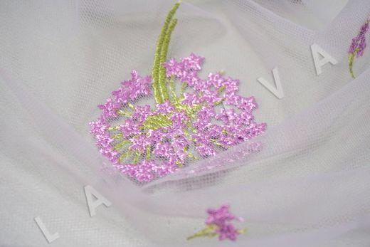 вышивка на сетке «Одуванчики» белого цвета рис-4