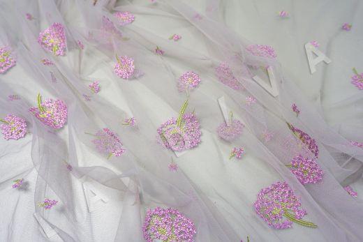 вышивка на сетке «Одуванчики» белого цвета рис-5