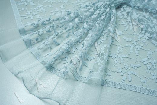 вышивка на сетке с цветочным орнаментом голубого цвета рис-2