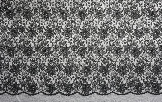 вышивка на сетке с цветочным орнаментом черного цвета рис-2