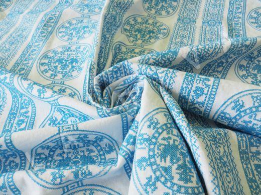 Оригинальный  лен с голубой вышивкой рис-3