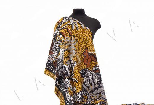 шелковый батист по мотивам Dior на коричневом фоне рис-5