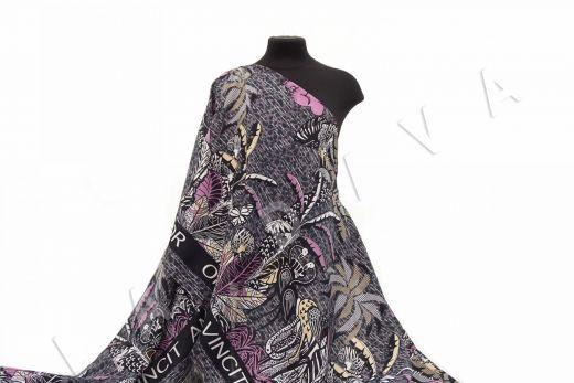 шелковый батист по мотивам Dior на фиолетовом фоне рис-2