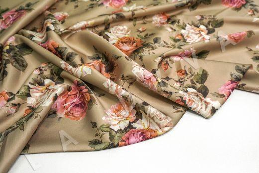 атласный шелк «Розы» на бежевом фоне рис-9