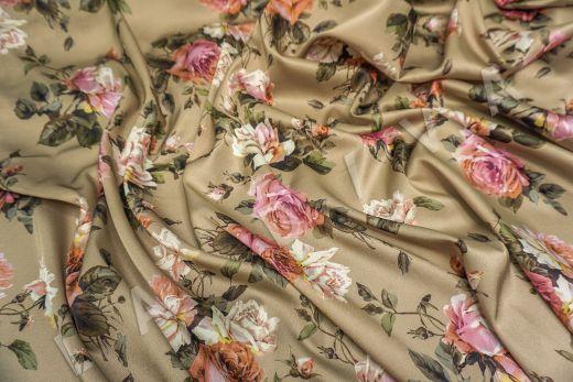 атласный шелк «Розы» на бежевом фоне рис-5
