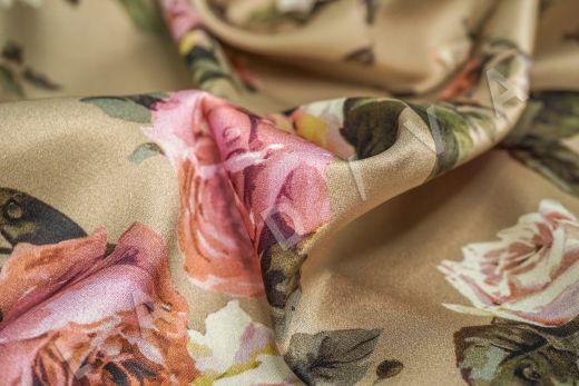 атласный шелк «Розы» на бежевом фоне рис-6