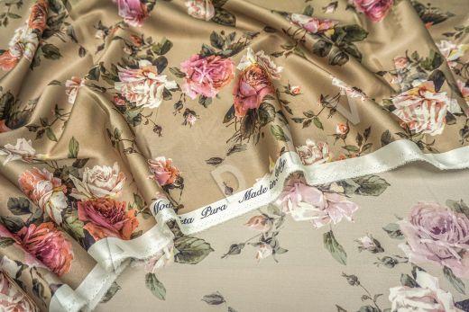 атласный шелк «Розы» на бежевом фоне рис-8
