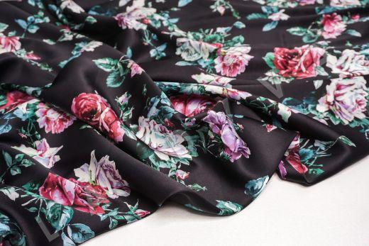 атласный шелк «Розы» на черном фоне рис-8
