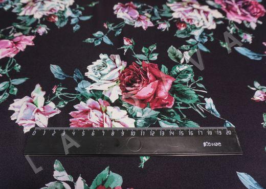 атласный шелк «Розы» на черном фоне рис-2