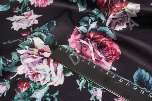 атласный шелк «Розы» на черном фоне рис-3