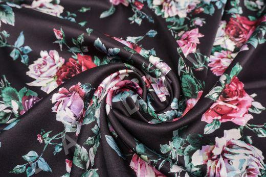 атласный шелк «Розы» на черном фоне рис-4