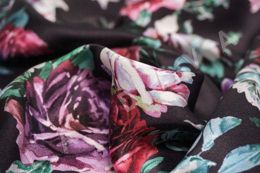 атласный шелк «Розы» на черном фоне рис-5